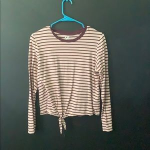 Striped top with knotted bottom